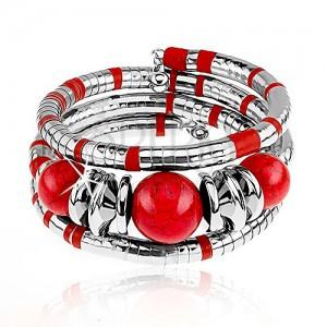 Náramok na trojité obtočenie okolo ruky, strieborná a červená farba