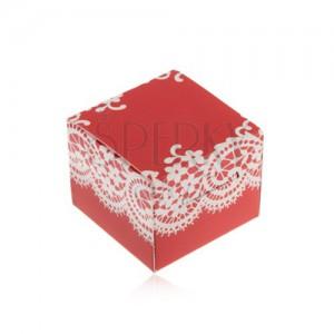 Červeno-biela krabička na prsteň, náušnice alebo prívesok, motív čipky
