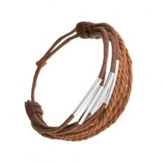 Šperky eshop - Náramok zo šnúrok škoricovej a tmavohnedej farby, úzke valčeky z ocele Q2.20