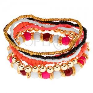 Elastický multináramok, korálky ružovej, bielej, čiernej a zlatej farby