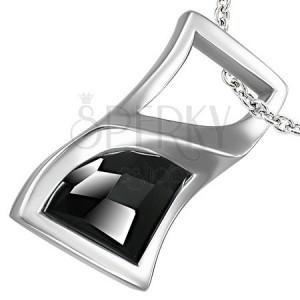 Prívesok z ocele točený obdĺžník s čiernym kameňom