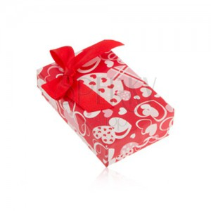 Červená krabička na náušnice a prsteň alebo prívesok, srdiečka, mašľa