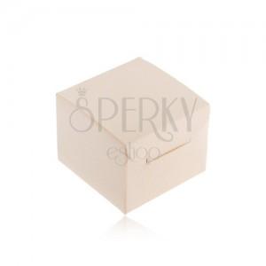 Krémová darčeková krabička na prsteň, náušnice alebo prívesok, šikmé zárezy
