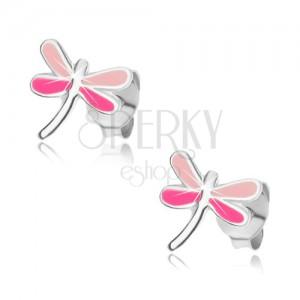 Náušnice zo striebra 925, vážka s krídlami v odtieňoch ružovej farby