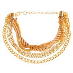 Šperky eshop - Multináramok zlatej farby, retiazky rôznych vzorov, špirálovito zatočená šnúrka S1.4