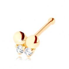 Zlatý piercing do nosa 585, rovný - motýlik zdobený čírymi zirkónikmi