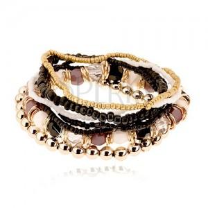 Multináramok, korálky rôznych tvarov, biela, čierna, zlatá a sivá farba