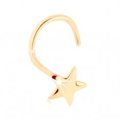 Zahnutý piercing do nosa v žltom 14K zlate - päťcípa hviezda, vysoký lesk