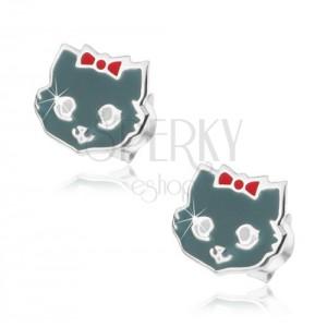 Strieborné 925 náušnice, mačička šedej farby, červená mašľa, biele očká