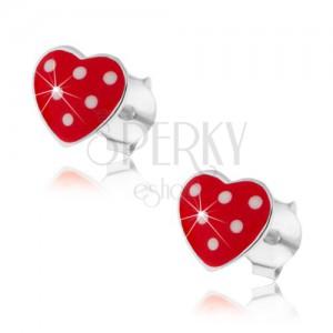 Náušnice zo striebra 925, červené vypuklé srdiečko, drobné biele bodky