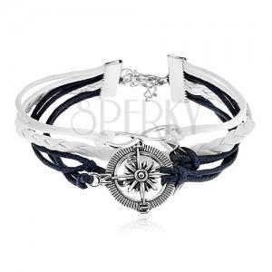 Pletený náramok, tmavomodré a biele šnúrky, symbol INFINITY, kotva, kompas