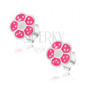 Strieborné náušnice 925, ružovo-biely kvietok, drobné lesklé bodky