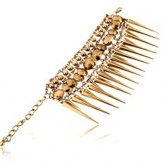 Šperky eshop - Masívny náramok, mosadzný odtieň, retiazka, guličky, ostne, karabínka T16.11