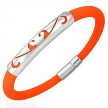 Okrúhly gumový náramok - ornament, oranžový