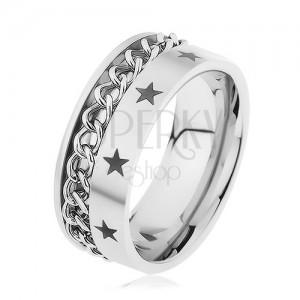 Oceľový prsteň striebornej farby zdobený retiazkou a hviezdičkami
