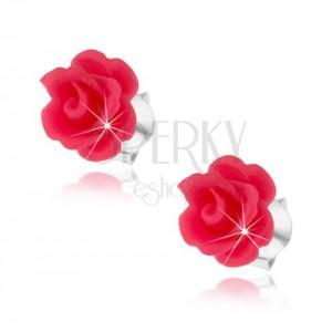 Puzetové náušnice zo striebra 925, vypuklé ruže v ružovom odtieni