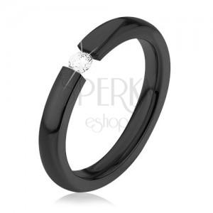 Lesklá obrúčka z chirurgickej ocele, čierna farba, okrúhly číry zirkón, 3 mm