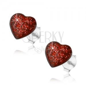 Strieborné náušnice 925, srdce zdobené červenou glazúrou s glitrami, puzetky