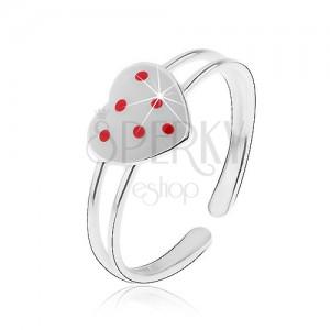 Strieborný prsteň 925, rozdvojené ramená, biele srdiečko s červenými bodkami