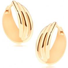 Kĺbové náušnice v žltom 14K zlate, krúžok z troch zaoblených línií
