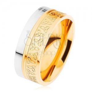 Obrúčka z chirurgickej ocele, strieborná a zlatá farba, keltské uzly