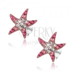 Strieborné náušnice 925, ružová morská hviezdica, ligotavé zirkóny, puzetky
