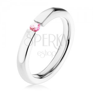 Prsteň z chirurgickej ocele, zaoblený povrch, ružový zirkón, 3 mm