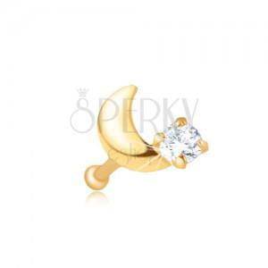 Piercing do nosa v žltom 14K zlate - rovný, kosáčik mesiaca, zirkón