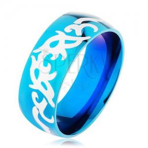 Modrá obrúčka z ocele 316L, lesklý hladký povrch s kmeňovými vzormi