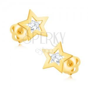 Náušnice zo žltého 14K zlata - lesklý obrys hviezdičky, číry zirkón