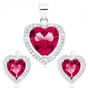 Set náušnic a prívesku zo striebra 925, červenoružové srdce, číra kontúra