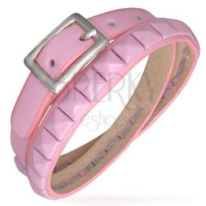 Zdvojený ružový kožený náramok - pyramídové vybíjanie