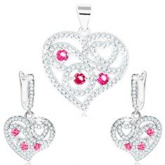 Šperky eshop - Sada - strieborné náušnice a prívesok 925, číre srdce, špirály, ružové zirkóny S19.25
