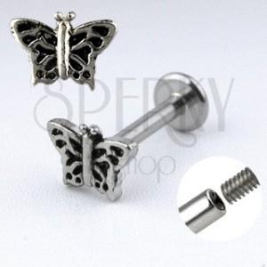 Piercing do brady Labret s motýľom