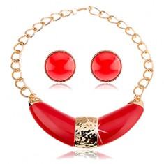 Šperky eshop - Sada náhrdelníka a náušníc, hrubá retiazka, červeno-zlatá farebná kombinácia U9.4