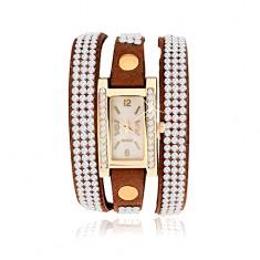 Šperky eshop - Náramkové hodinky, úzky hnedý remienok, priehľadné zirkóniky X36.7