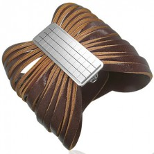 Hnedý kožený náramok so sponou - šachovnica