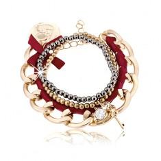 Šperky eshop - Multináramok, hrubá retiazka s bordovou stužkou, korálky, prívesky X9.2