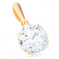 Šperky eshop - Prívesok v žltom 14K zlate - číry okrúhly zirkón, šikmé zárezy, 7 mm GG94.36