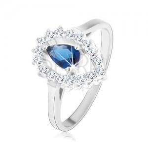 Prsteň, striebro 925, číra kontúra obrátenej kvapky s modrou zirkónovou slzou