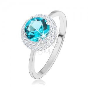 Ligotavý prsteň, striebro 925, okrúhly zirkón akvamarínovej farby, číry lem