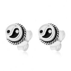 Šperky eshop - Okrúhle puzetové náušnice, striebro 925, čierno-biely symbol Jin a Jang I24.25