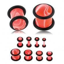 Akrylový plug do ucha ružovej farby, mramorový vzor, dve čierne gumičky