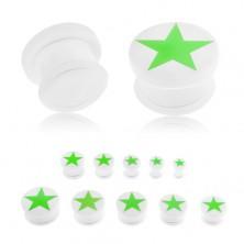 Plug do ucha z akrylu bielej farby, zelená päťcípa hviezda žiariaca v tme, gumička