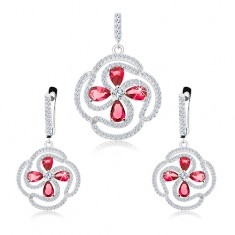 54696d605 Šperky eshop - Sada náušníc a prívesku zo striebra 925, kvietok z čírych a  ružových zirkónov S26.25