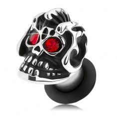 Oceľový plug do ucha, strieborný odtieň, lebka s helmou, patina, červené zirkóny