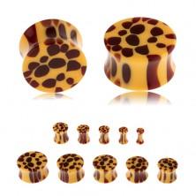 Sedlový plug do ucha z akrylu, oranžová farba, hnedé škvrny - leopardí vzor