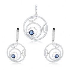 Strieborná sada 925 - prívesok a náušnice, obrysy kruhov, okrúhly modrý zirkón