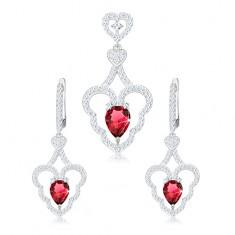 Set prívesku a náušníc, striebro 925, zvlnený obrys srdca, ružová kvapka