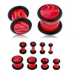 Akrylový plug do ucha, červená farba, mramorový vzor, čierne gumičky